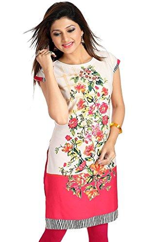 SATRAT Women's Knee Length Poly Crepe Round Neck Kurti (Multicolour Floral Design_Cap...