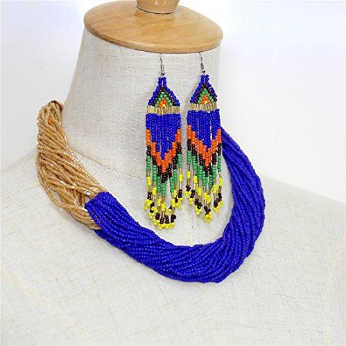 # 635S2donne Fashion Jewelry Set blu oro in rilievo etnico orecchini collana - Oro Collana In Rilievo