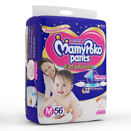 Mamy Poko Medium Size Baby Diapers (56 count)