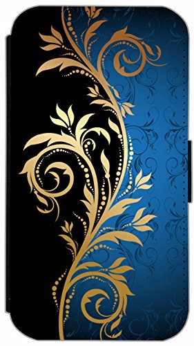 Flip Cover Schutz Hülle Handy Tasche Etui Case für (Apple iPhone 5 / 5s, 615 lustiger Hase) 621 Tattoo Style Schwarz Gold Blau