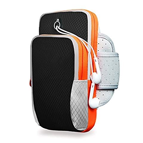 Sport Armband, moreFit AB-002 Running Double Pockets Adjustable Sports Outdoor Arm Bag for IPhone7 & Samsung S7 Less than 6.0