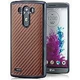 Saxonia® LG G3 Hülle Case Schutzhülle Cover Slim Design in Carbon-Optik Braun