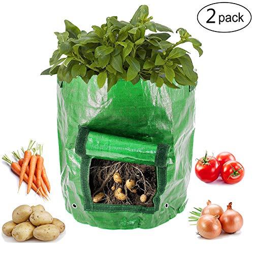 Kyerivs Jardin de pommes de terre pour sac de croissance Lot de 2 10 Gallon Légumes Pot de fleurs Sacs pour cultiver de pommes de terre, carottes et d'oignons