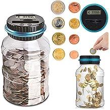 Sunsbell Hucha Contador, Caja de Ahorro de Monedas Euro Dinero Moneda Caja de conteo de