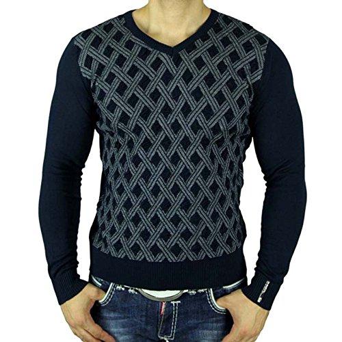 Rusty Neal Herren Sweater V-Neck Pullover Sweatshirt Pulli Strickjacke RN-6716-P Schwarz