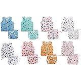 EIO New Born Baby Cotton Jhabla with Diaper Langot (Multicolour) - Pack of 16.