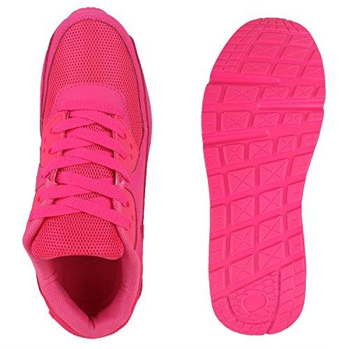 Damen Herren Unisex Sportschuhe Runners Sneakers Laufschuhe Trendfarben Neonpink