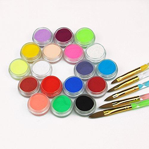 Mode Galerie 18 couleurs Poudre Acrylique Poussière avec 5 pcs Cristal Brosses Pinceaux Ongles Nail Art Kit
