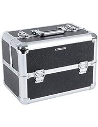 Songmics Beauty case avec une glissière mallette/ coffrets/ boîte cosmétique Maquillage beauty et manucure noir JBC312