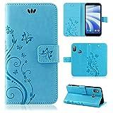 betterfon | Flower Case Handytasche Schutzhülle Blumen Klapptasche Handyhülle Handy Schale für HTC U12 Life Blau