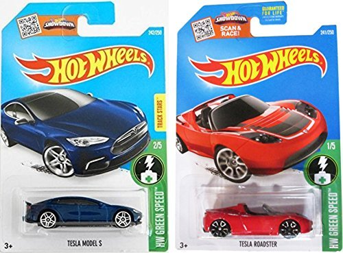 Hot Wheels 2016 Red Tesla Roadster and Blue Model S by Team Hot Wheels