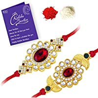 Sukkhi Elegant Gold Plated Designer Floral Rakhi Combo (Set of 2) with Roli Chawal and Raksha Bandhan Greeting Card For Men