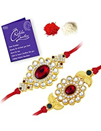 Sukkhi Rakhi  Elegant Gold Plated Designer Floral Rakhi Combo (Set of 2) with Roli Chawal and Raksha Bandhan Greeting Card For Men