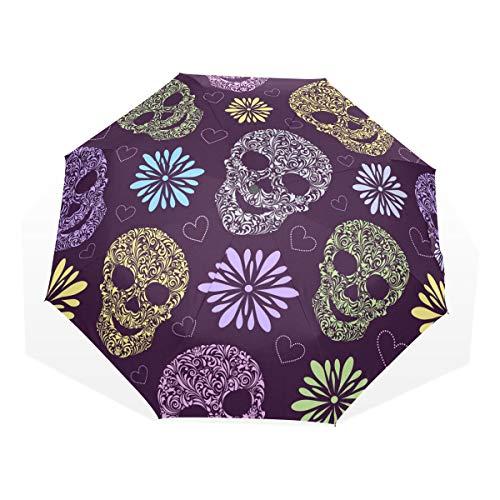 GUKENQ - Paraguas de Viaje Ligero y antiUV para Hombre, Mujer, niños, diseño de Calaveras Florales, Color Morado