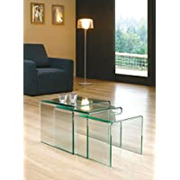 Milan Bent Glass Nest of Coffee Tables (Clear) 42 x 42 x 42 cm