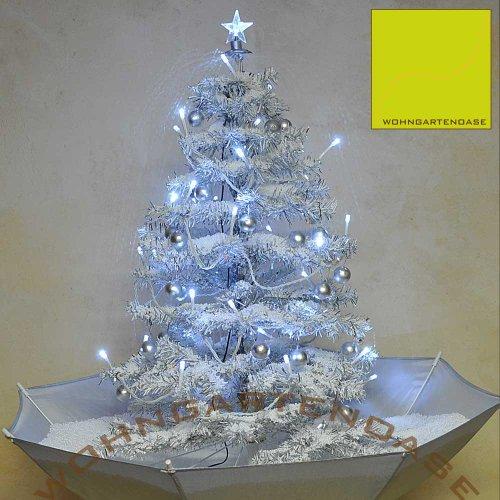 Weihnachtsbaum mit Schneefall, LED Lichterkette und Weihnachtsschmuck, silber weiß