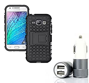 Aart Hard Dual Tough Military Grade Defender Series Bumper back case with Flip Kick Stand for Samsung J1 + Car Charger With 2 Fast Charging USB Ports by Aart Store.