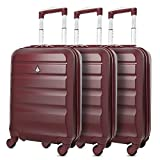 Aerolite Super Lightweight ABS Hard Shell Travel Carry On Cabin Hand Luggage Suitcase with 4 Wheels (Wine)