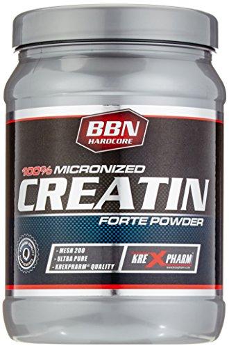Hardcore Creatin Powder (BBN Hardcore 100 prozent Micronized Creatin Forte Powder 200 Mesh Ultrafein Definition Bodybuilding, 1er Pack (1 x 0.45 kg))