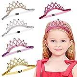 BJ-SHOP Princesse Couronne, Princesse Diademe Bande de Cheveux Elastique Bandeau Couronne Etincelante 5 pcs