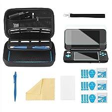 Bestico Custodia per New Nintendo 2DS XL Accessori Set, Custodia Protettiva per Nintendo DS(New 2DS XL/New 3DS XL/3DS/3DS XL/New 3DS) con 16 Supporti per Cartuccia di Gioco+4 Pellicola Protettiva+ Penna Stilo Touch Screen +Cinturino (Nero)