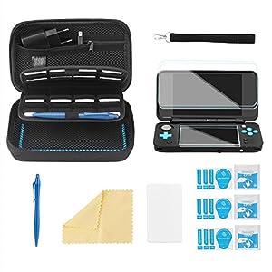 Bestico Zubehör Set für New Nintendo 2DS XL, Beinhalteteine Tasche für Nintendo DS (New 2DS XL/New 3DS XL/3DS/3DS XL/New 3DS)mit 16 Spielpatronen Slots+ Tragegurt+4 Display Schutzfolie+Touchscreen Pen