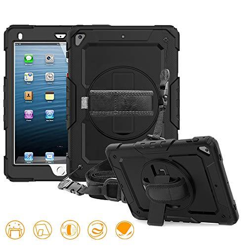 FAN SONG Hülle für iPad 2018/2017 9.7, 3-in-1-Stoßfest Silikon Schutzhülle mit Standfunktion/Handschlaufe/Schultergurt/Stifthalter[360 Grad-Schwenker]für iPad Air/Pro 9,7 Zoll (Drehung - Schwarz) - Air Ipad Handschlaufe