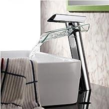 TougMoo in vetro di alta qualità bacino beccuccio rubinetto con leva singola cascata lavello Rubinetto Rubinetto miscelatore Spray per Bagno Cucina ,l'ottone,grigio chiaro