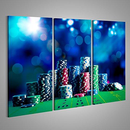 Bild Bilder auf Leinwand Poker Chips auf einem Spieltisch mit dramatischer Beleuchtung Verschiedene Formate ! Direkt vom Hersteller ! Bilder ! Wandbild Poster Leinwandbilder ! FTZ