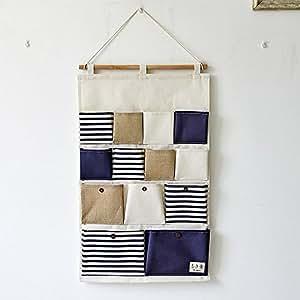 yiuswoy grosse kapazitaet 13 taschen streifen spleissen wandorganizer haengeorganizer tuer. Black Bedroom Furniture Sets. Home Design Ideas