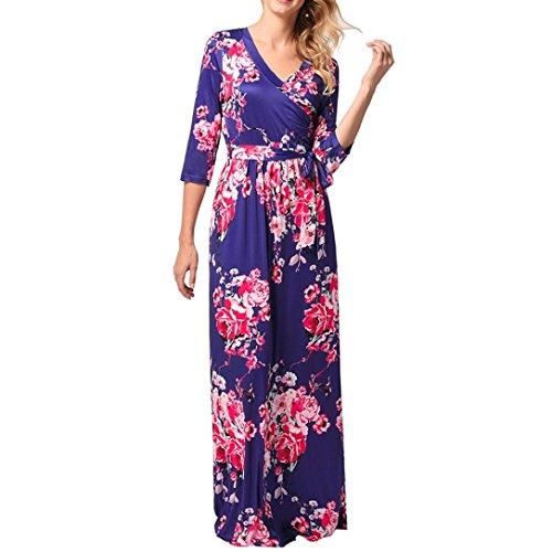 Longra Damen Blumen Kleid Lange Kleider Maxikleid Damen Sommerkleider  Elegant Langarm Lang Abendkleider Cocktail Partykleid Boho 1a887db77f