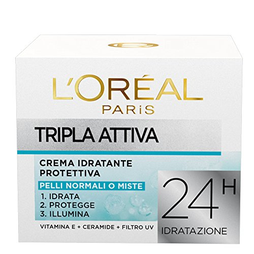 L'Oréal Paris Tripla Attiva Crema Idratante Protettiva per Pelli Normali o Miste, 50 ml