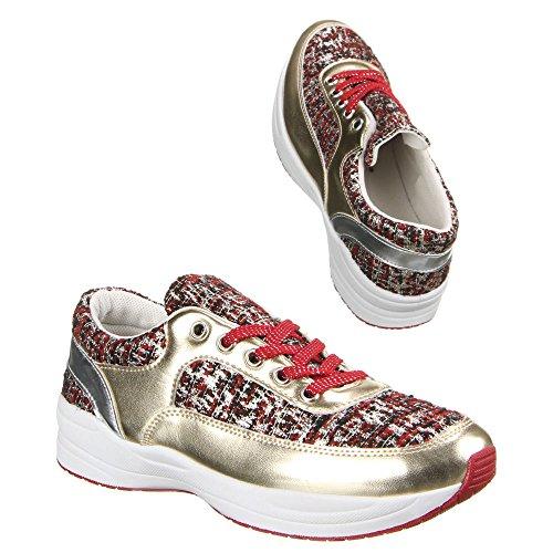 Damen Schuhe, W-66, FREIZEITSCHUHE Rot Gold