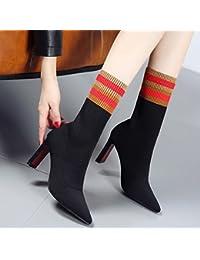 HGTYU-Otoño e Invierno Hechizo nuevo color con rayas calcetines tejer Tejido extensible botas botas botas de tacón...