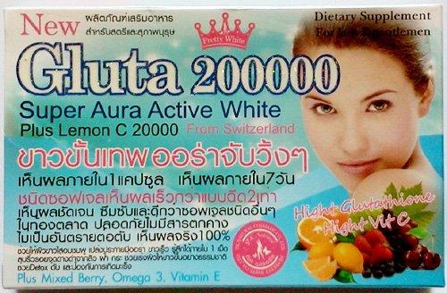 12unidades/144Cápsulas l-glutathione 200000MG. Softgel Super Aura activo Blanqueamiento piel con limón C 20000mg y Omega 3de frutas del bosque, Vitamina...
