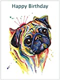 MOPS Geburtstagskarte, Hund Geschenk–Custom Text