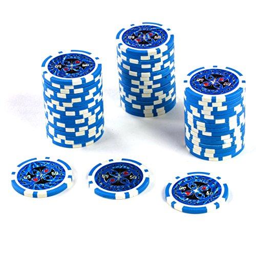 50 Poker-Chips Laser-Chips Wert 50-12g Metallkern Poker Texas Hold`em Black Jack Roulette - blau - reflektierend