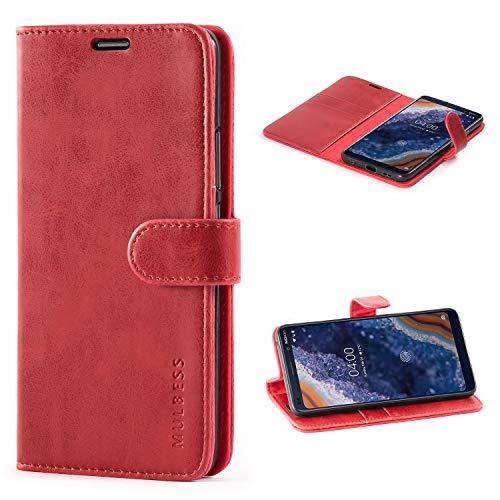Mulbess Custodia per Nokia 9 PureView, Cover Nokia 9 PureView Pelle, Flip Cover a Libro, Custodia Portafoglio per Nokia 9 PureView, Vino Rosso