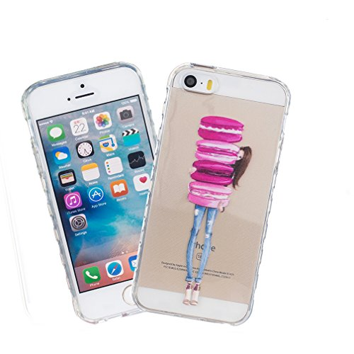 iphone 5 / 5S / SE Case,YuDan Trasparente Ultra Slim 0.3mm gel TPU Case Custodia Skin in silicone Cover per Apple iphone 5 / 5S / SE Anti-Shock Anti-Scratch Tacsa Custodia Caso - DX3 DX7
