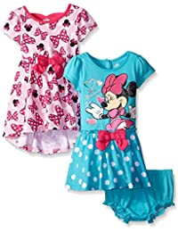 Disney Baby-Girls Minnie Mouse Dresses, Pink/Blue, 12 Months (Pack Of 2)