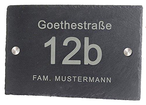 Feiner-Tropfen Hausnummer Schiefer Gravur BK schwarz anthrazit Edelstahl 30x20