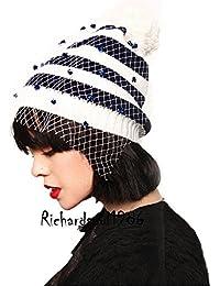 Las mujeres de color gris oscuro Novetly Suéter de tejer Tejido patrón gafas Beanie cabeza blanca tapa