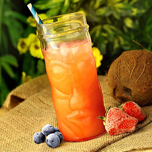 Mugs en Verre Tiki oz/400 ml – Lot de 4 – en verre en forme de cocktail Cups comme Têtes Tiki Tropical, idéal pour les Cocktails