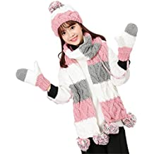 Vimeet Damen Warme Winter Mütze Schal Handschuh Set Wintermütze Gestrickt Beanie Mütze Wollmütze Strickmütze Earflap Hut Kappe Schnee Hüte Skimütze