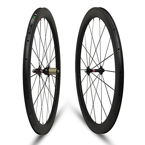 Yuanan 50mm Tiefe Carbon Fahrrad Rad Drahtreifen Stahlrohr Tubeless Laufradsatz für 700C Road Fahrrad Cycling -