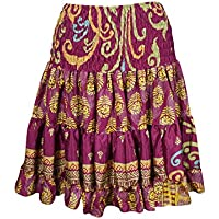 Womens Dancing Skirt Vintage Upcycled Silk Sari Purple Tiered Holiday Skirts