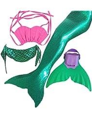 Mädchen Bikini Badeanzüge Meerjungfrauenschwanz zum Schwimmen mit Meerjungfrau Flosse Schwimmen Kostüm Bademode Meerjungfrauenschwanz Schwanzflosse niedlich Muschelbikini…