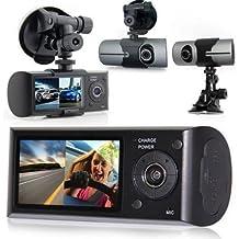 J DC5 Dash cam car Dvr Camera Full HD 1080P With Novatek SQ Dual Lens Car DVR Dash CAM Camcorder with 2.7 LCD TFT GPS Logger G-sensor ultra wide angle of 140 degrees Black