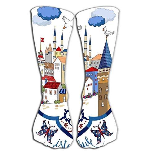 ts Men Women High Socks Stocking Istanbul Cartoon Drawings Tile Length 19.7