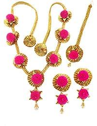 BLENT#63 Traditional Pink Gota Fabric Jewellery Set For Women/Girls/Kids/Bride/Wedding/Haldi/Mehndi (10 Colour...